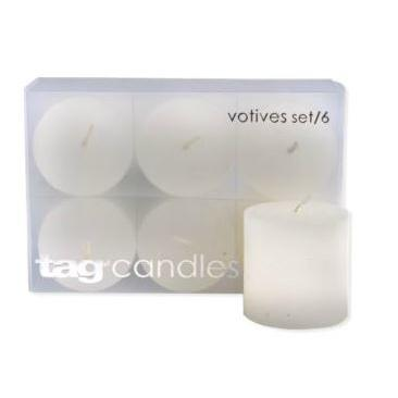 Votives (6pack) White Burn Time 5hours