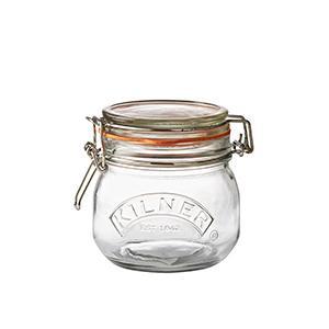 Canister Glass Jar Wire-clasp Kilner Round 17oz