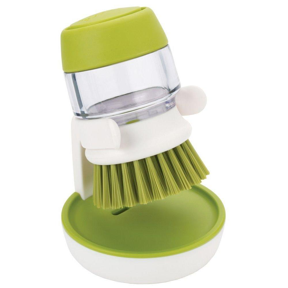 Cleaning Brush Palm Scrubber Green W/soap Res. & Holder
