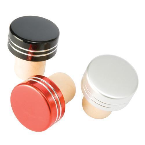Wine Bottle Stopper Cork Basic Metallic Red Or Silver Or Blk