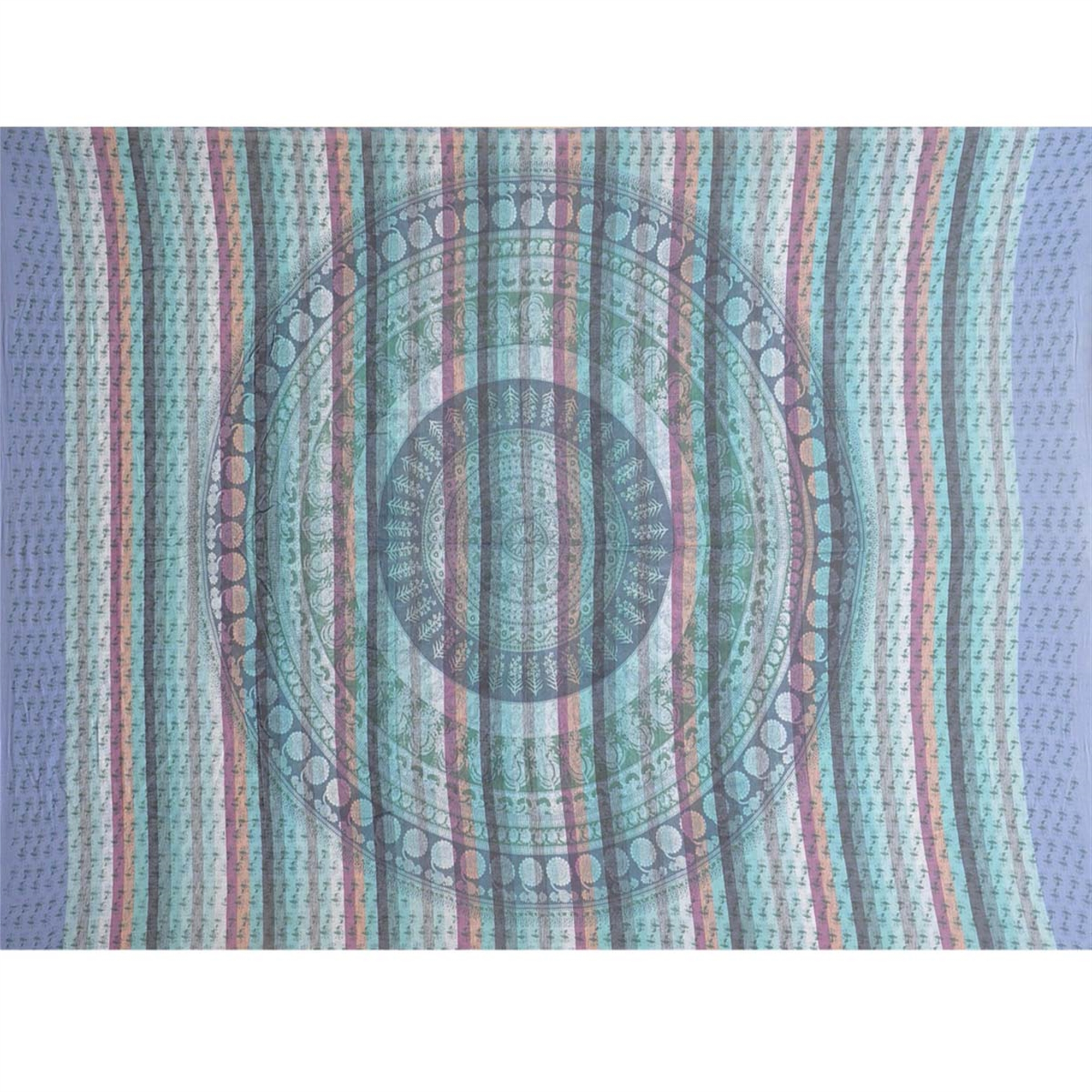 Tapestry Twin Size Overprint Circle Bagru Blue