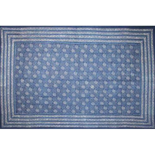 Tapestry Twin Size Indigo Dabu Pinwheel