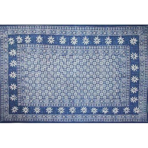 Tapestry Twin Size Indigo Dabu Flower