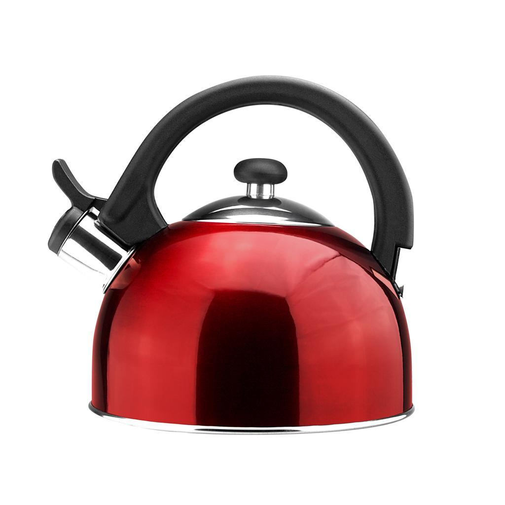 Tea Kettle Sabal Red Stainless Steel 2.1 Qt