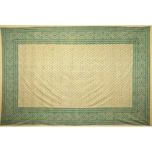 Tapestry Twin Size Cream Ground Blue Green Small Flower Sprig