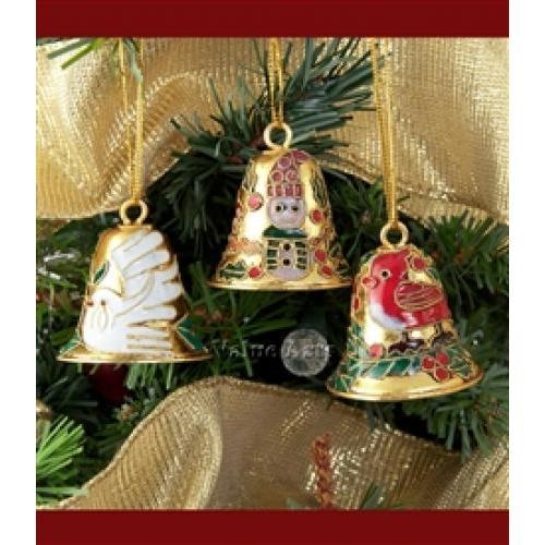 Cloisonne Christmas Ornament Bell Gold