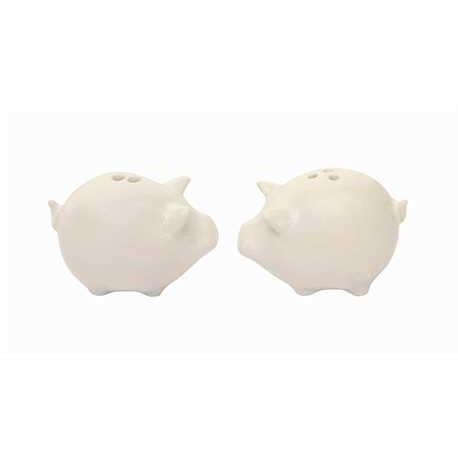 Salt aAnd Pepper Shakers Pig Shape Ceramic Mini 2in Long