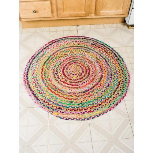 Stained Glass 3ft Round Rug Strawberry Ice