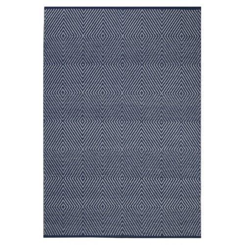 Zen Collection Indoor Zen Dark Blue Rug 3x5 Flat Weave Recycled Cotton