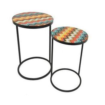 Outdoor Seating Table Round Metal Glass-top Color Zig-zag 2 Size Set (59.99, 69.99)