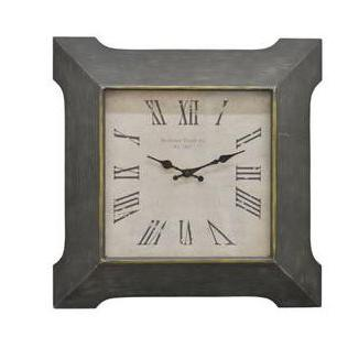 Wall Clock Roman Numeral Square Wood Face-white