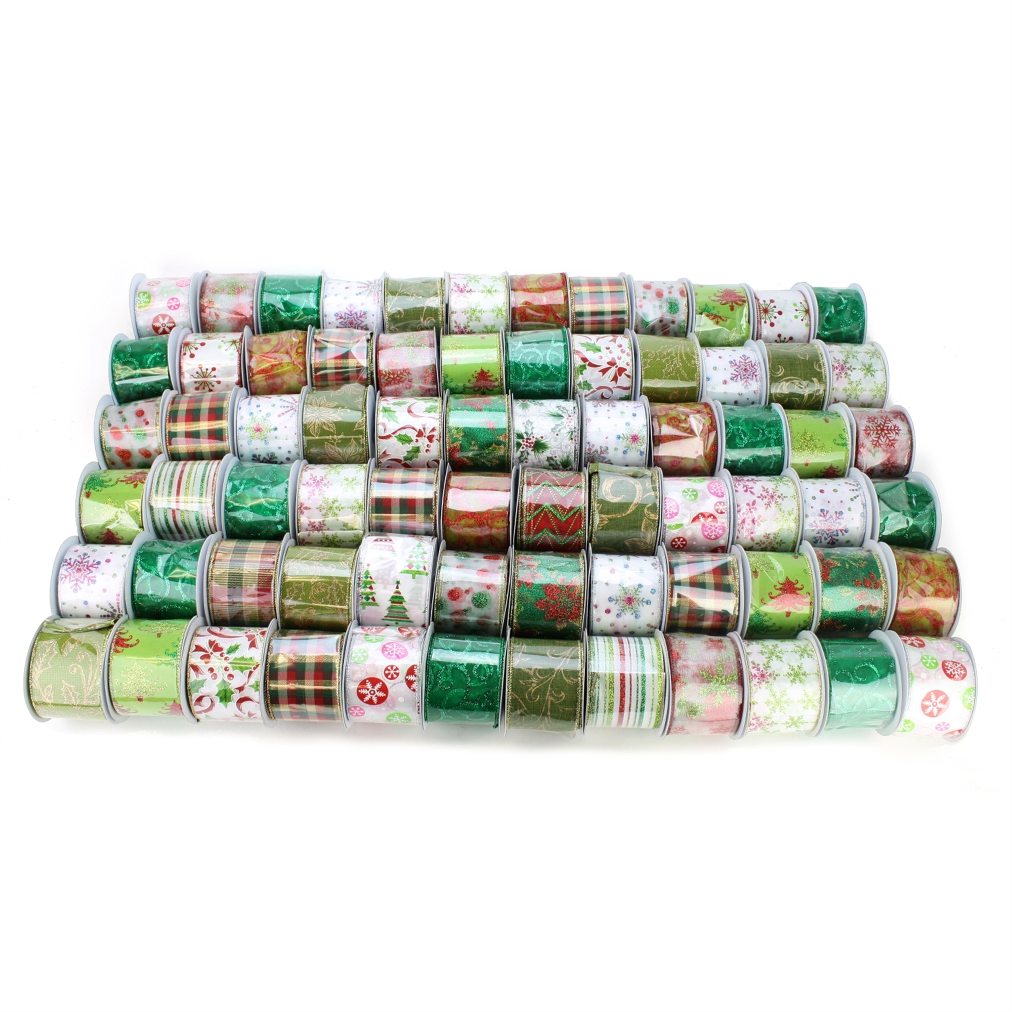 2.5 Inch Assorted Ribbon Green/red Pattern