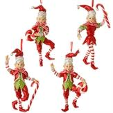 Ornament 4 Assorted 5.5 Inch Peppermint Elf