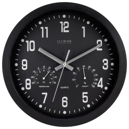 Wall Clock Analog 12� Face-black Frame-black Temperature & Humidity Dials