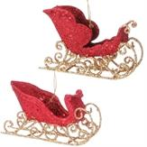 Ornament 2 Assorted 3 Inch Glittered Sleigh