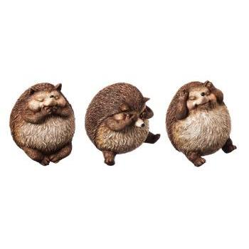Outdoor - Decorative Garden Statue Animal Hedgehog Acorn Alley Hear Speak See No Evil