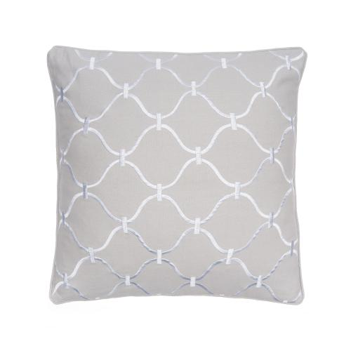 Block Print Grey Pillow 20in X 20in