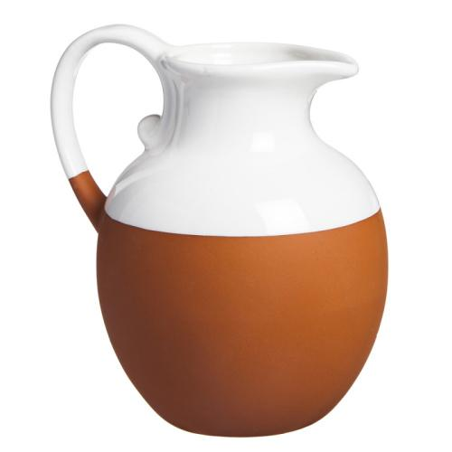 Pitcher Terracotta Dipped White