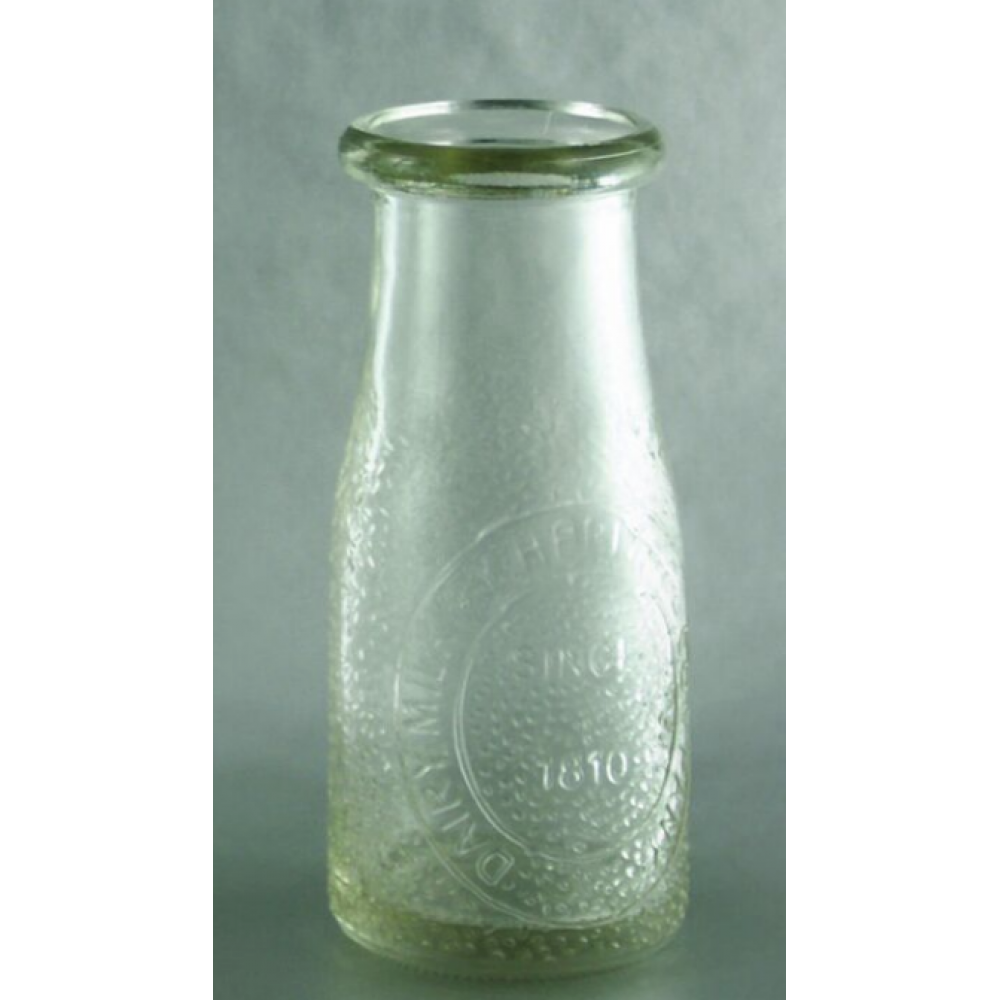 Glass Bottle Milk Carafe Vintage 7oz. 5.4in.