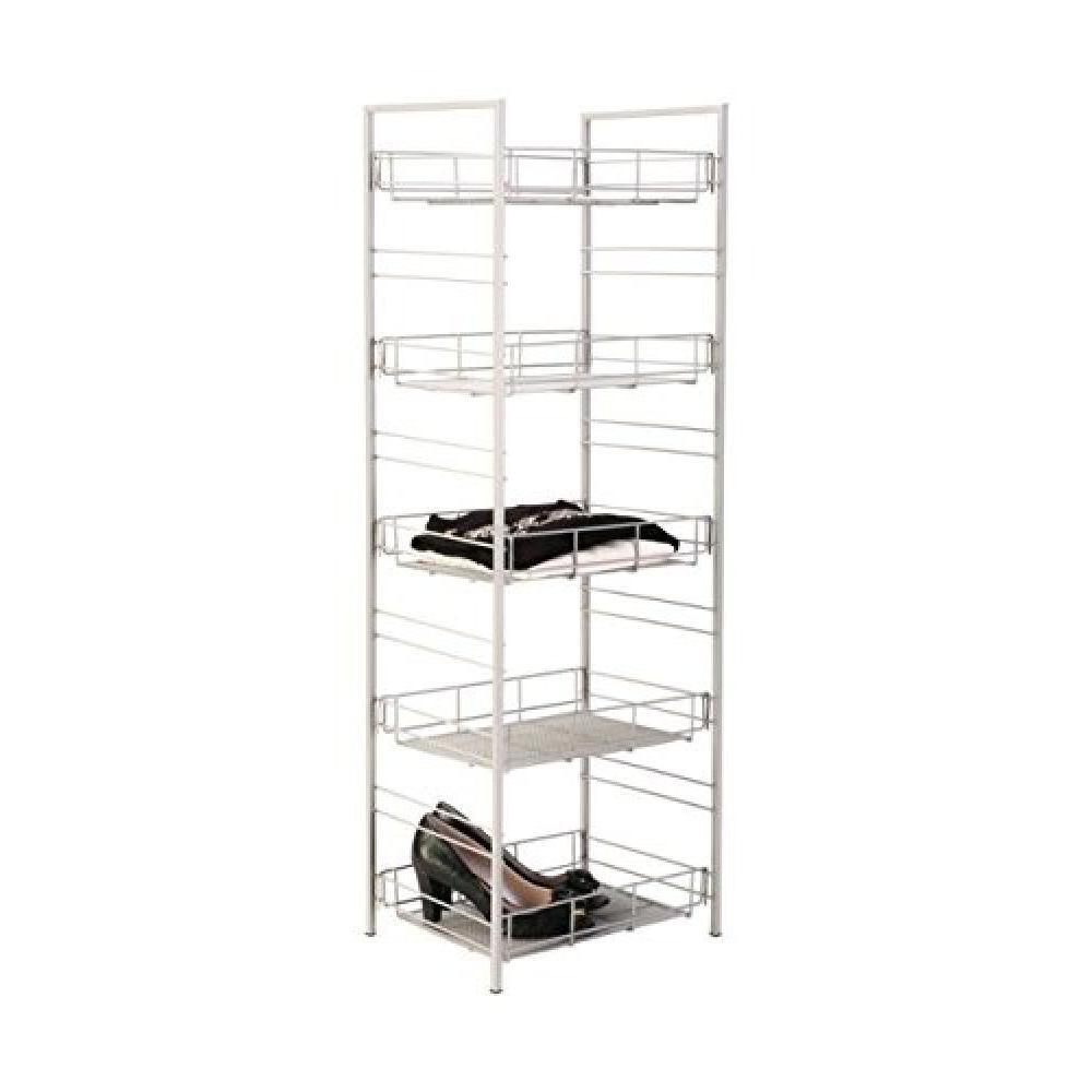 5 Shelf Adjustable Mesh Organizer Satin Nickel