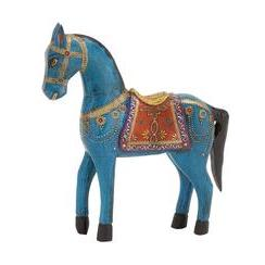 Painted Horse Wood Blue 11in W X 12in H