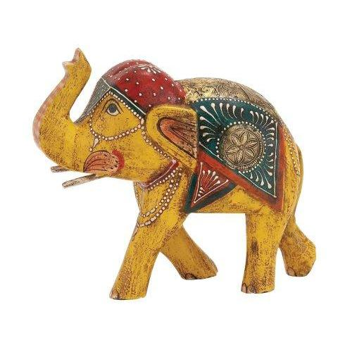Painted Elephant  Yellow 10in W X 9in H