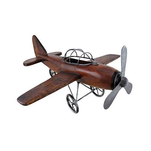 Metal And Wood Airplane 16in W  X 9in H