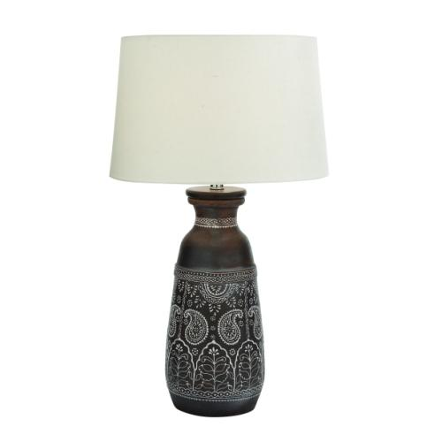 Lamp Dk Brown Terracotta White Paisley Design 28in High
