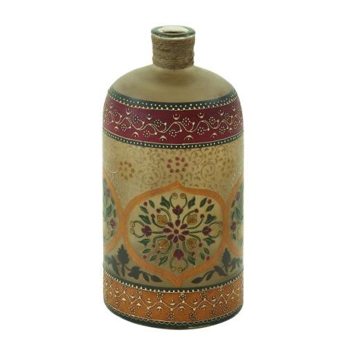 Vase Painted Bottle 7in W X 15in H