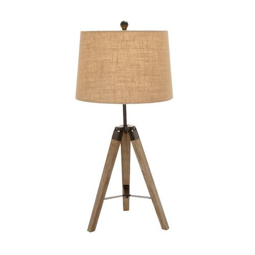 Lamp Wood And Metal Tripod 31in H