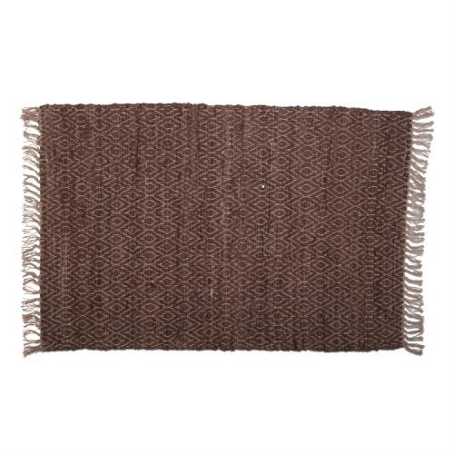 Rug Diamond Weave Chindi Brown 2ft x 3ft