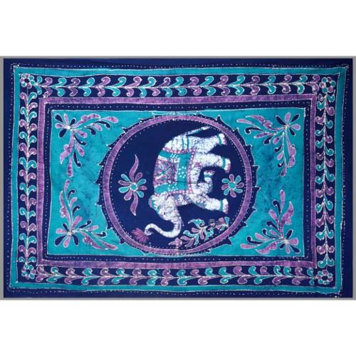 Tapestry Full Size White Elephant Batik Blue/purple