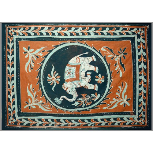 Tapestry Full Size White Elephant Batik Orange/green
