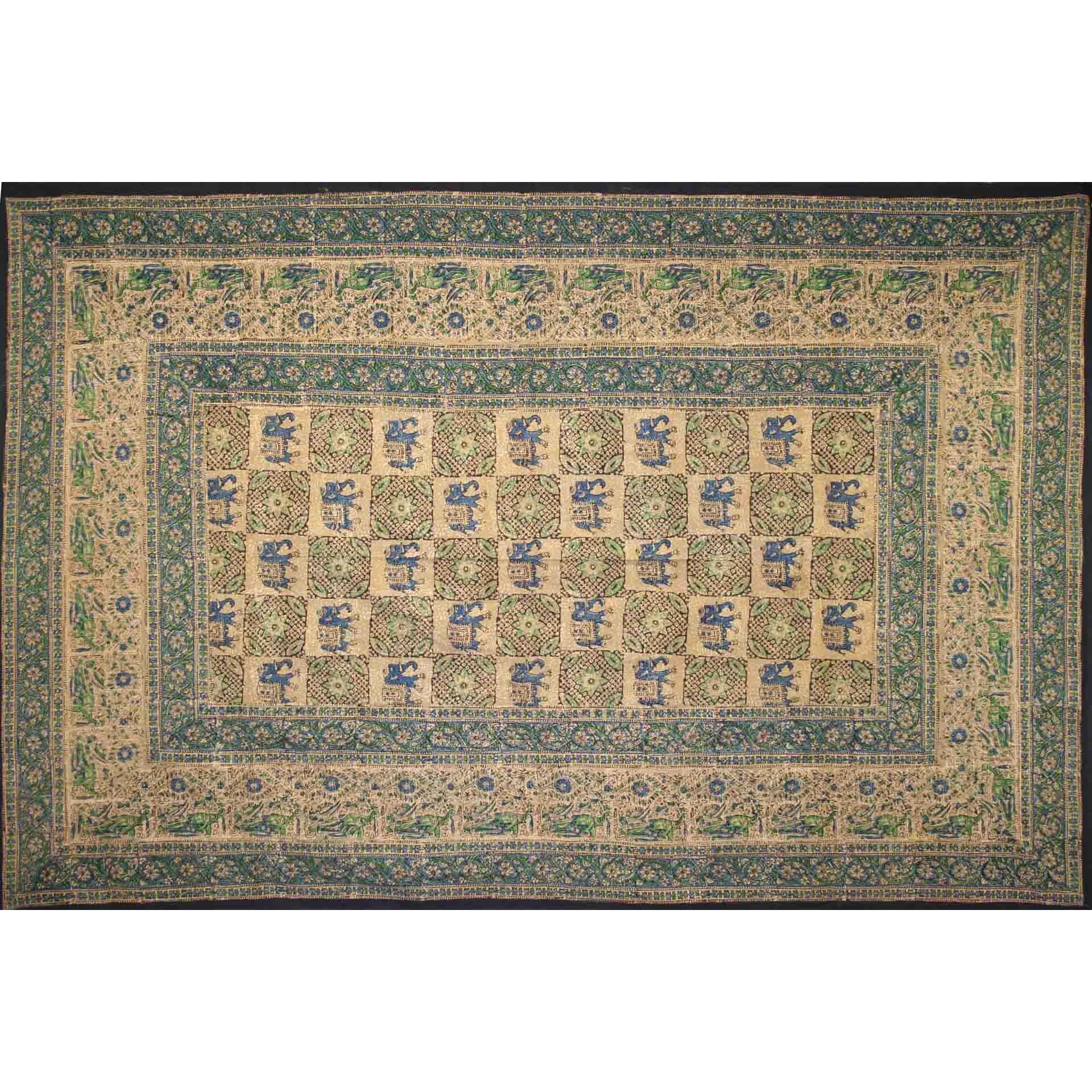 Tapestry Twin Size Elephant Batik Green