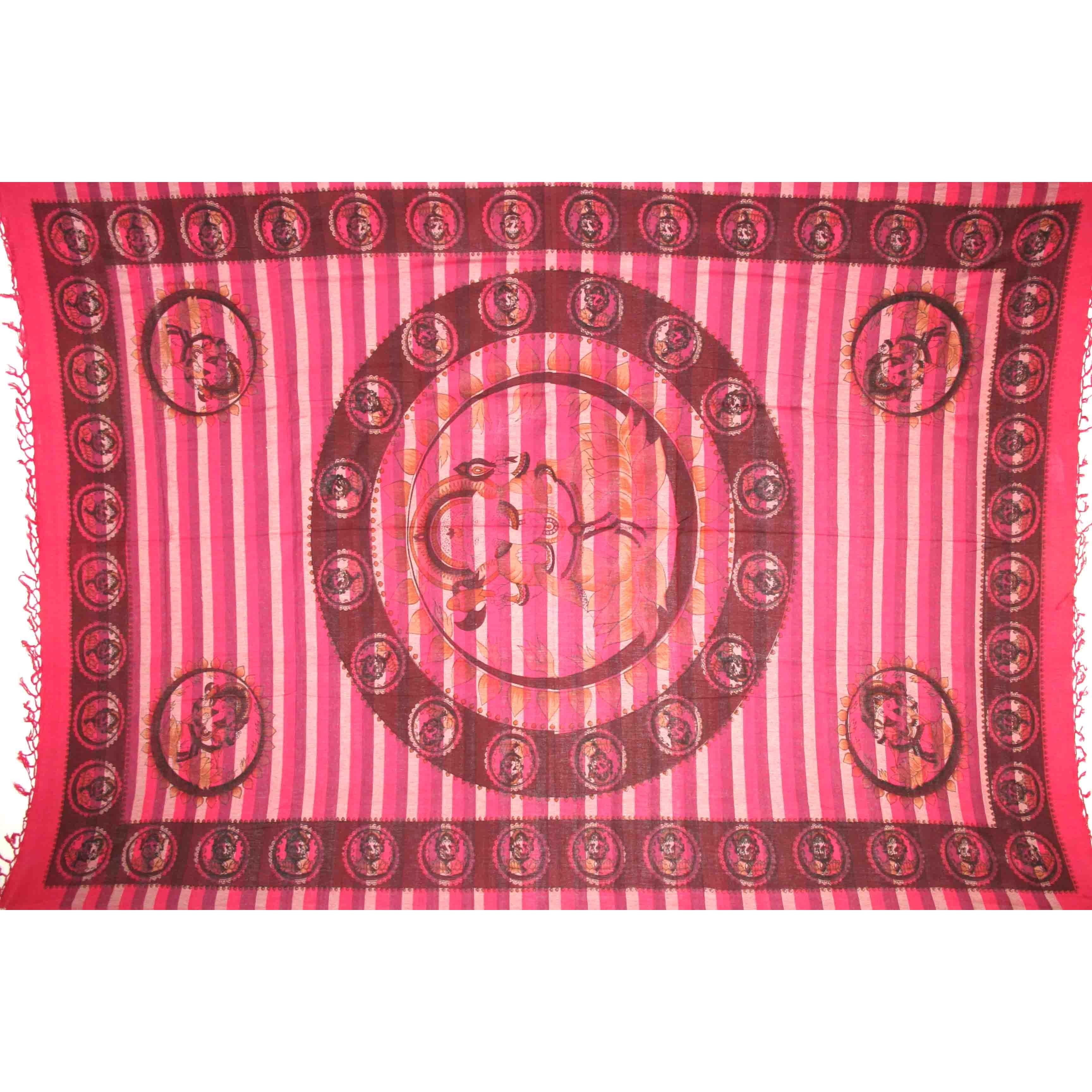 Tapestry Twin Size Overprint Ganesh Red