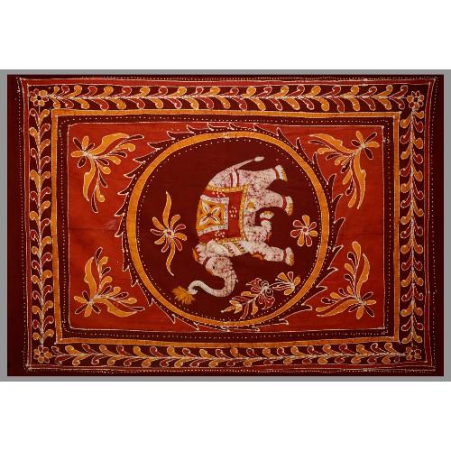 Tapestry Single Size White Elephant Batik Red/orange
