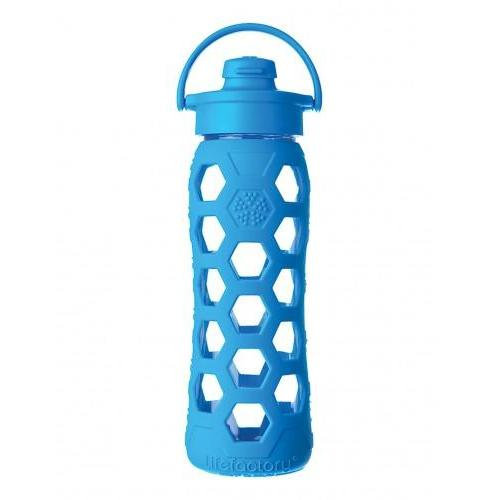 Travel Water Bottle Glass Silicone-Sleeve Cap-flip-top 22oz Blue-ocean