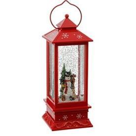 Decor Snowglobe Lantern Snowman Lit 11in