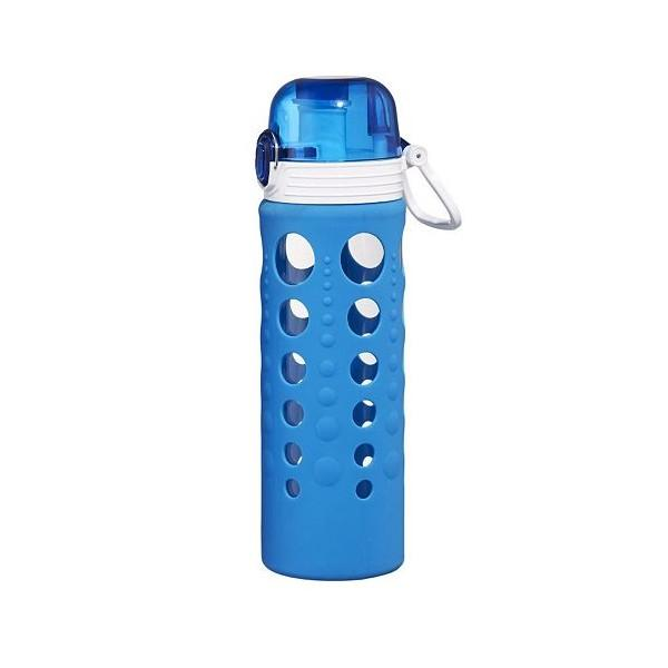 Travel Water Bottle Glass Hydrapure Silicone-Wrap Blue