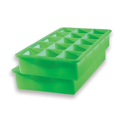 Ice Mold Tray Cube Silicone 15-pocket Green Pack Of 2