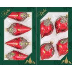 Glass Christmas Balls Candy Apple Red With Glitter 2 Styles