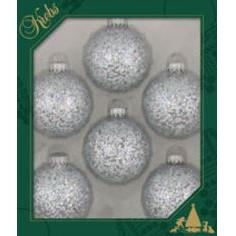 Glass Christmas Balls Silver Spangle