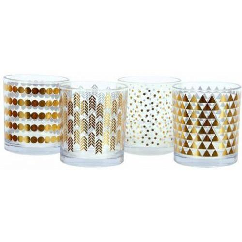 Drinking Glass Tumbler Gold Foil 4 Assorted (Each Sold Separately)