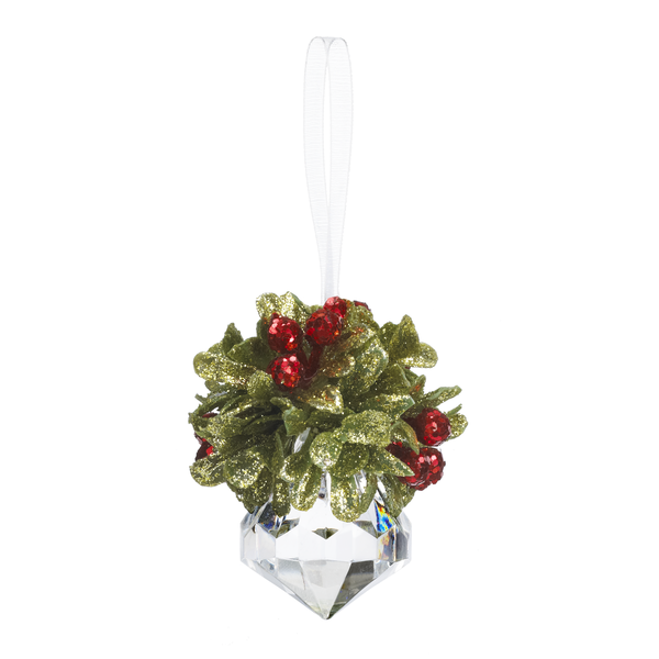 Mistletoe Jewel Ornament  Classic Red 2.5 Inch