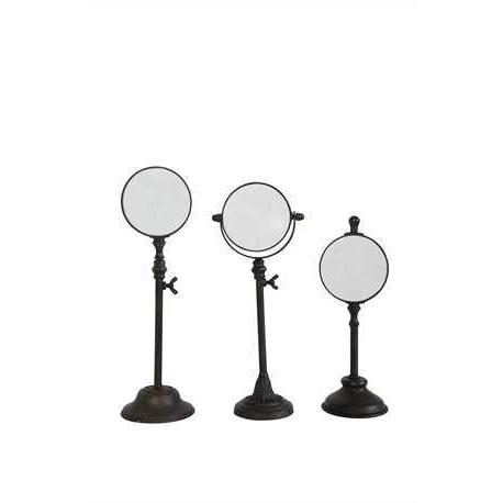 Magnifying Glass On Stand Metal Set Of Three