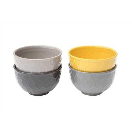 Dinnerware Ceramic Bowl Embossed Honeycomb 4 Colors