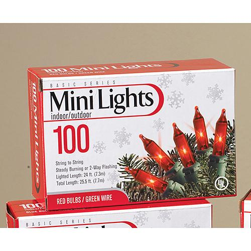 Lights Set Mini 100 Red With Green Wire