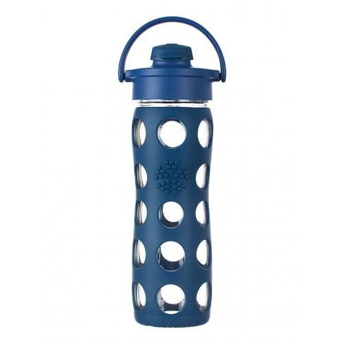 Travel Water Bottle Glass Silicone-Sleeve Cap-flip-top 16oz Blue-midnight