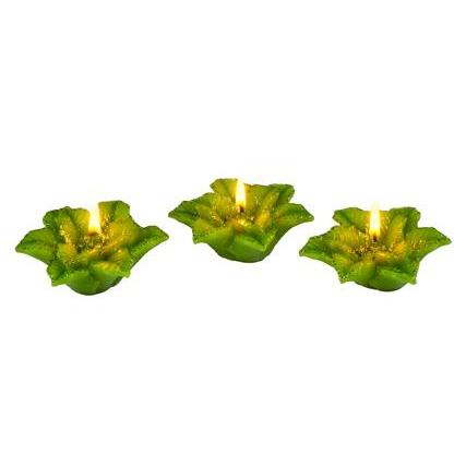 Seasonal Floating Candle Pointsettia 3/set