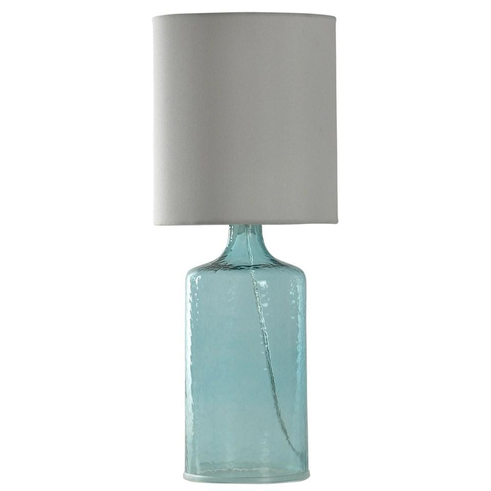 Seeded Glass Table Lamp Clear Water Tint 21.5 In Tall With White Linen Shade